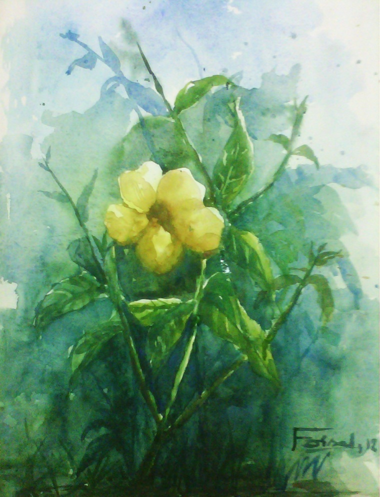 flower study watercolor